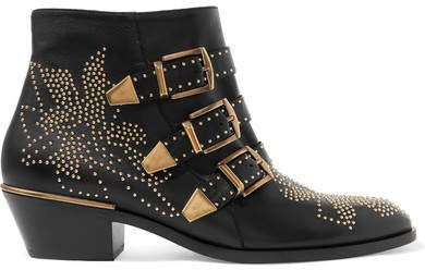 Susanna Studded Leather Ankle Boots - Black