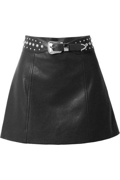 Miu Miu | Belted studded leather mini skirt | NET-A-PORTER.COM