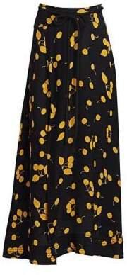 Women's Cherry Print Tie-Waist Side Slit Maxi Skirt - Black Gold - Size 0