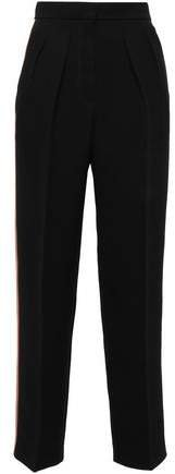 Satin-trimmed Pleated Crepe Tapered Pants