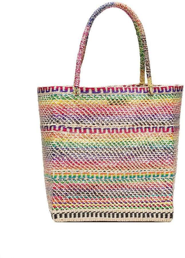 Studio multicoloured straw tote bag
