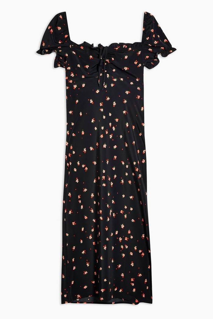 Square Neck Floral Midi Dress | Topshop black