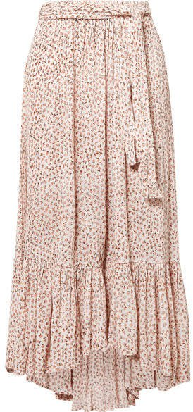 Sabila Belted Floral-print Crinkled-crepe Skirt - Blush