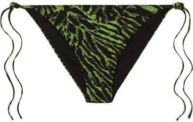Tiger-print Bikini Briefs - Green
