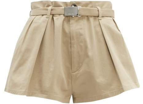 Pleated High Cut Cotton Blend Twill Shorts - Womens - Beige