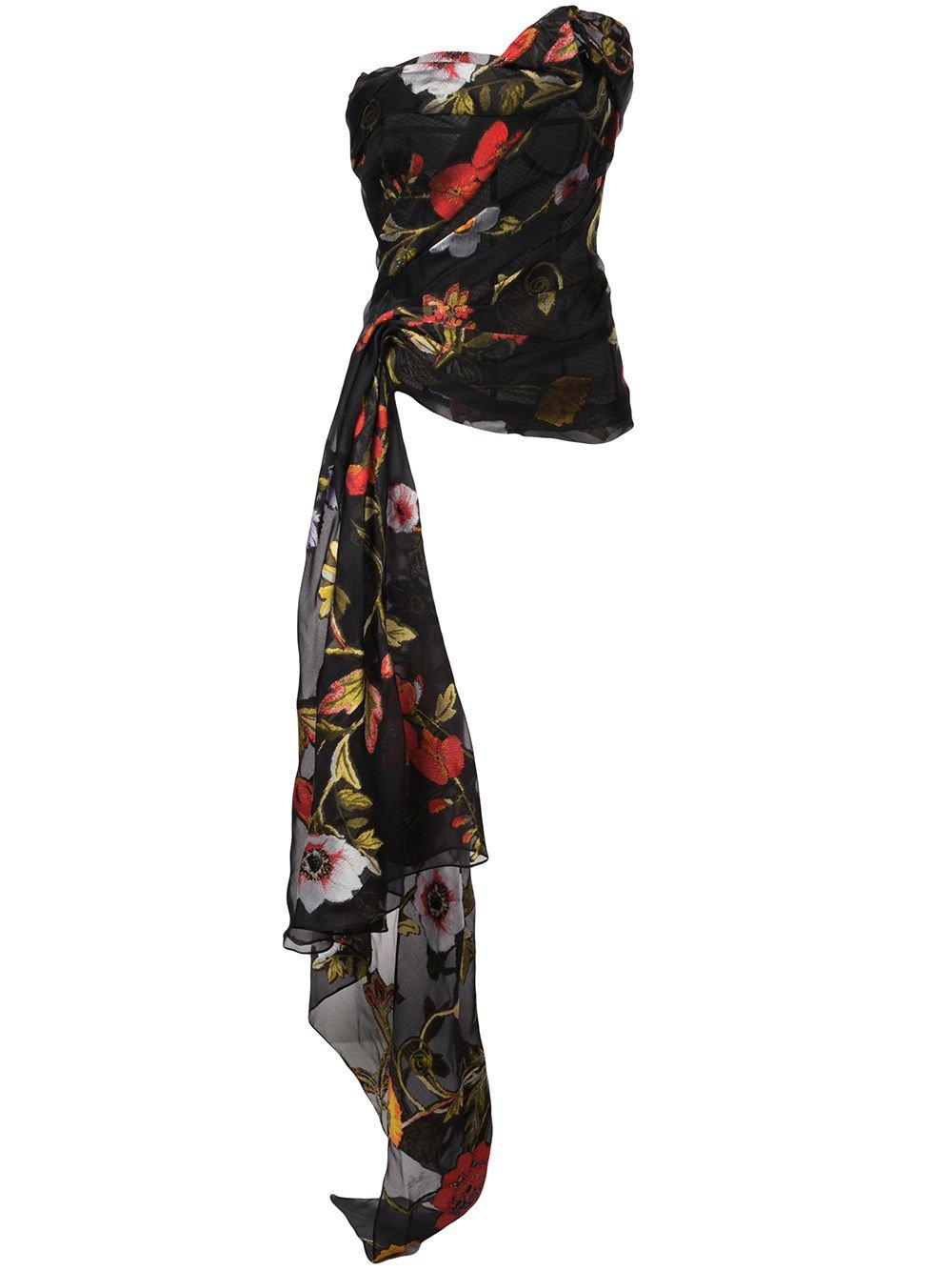 Oscar De La Renta Strapless Asymmetric Floral Top - Farfetch