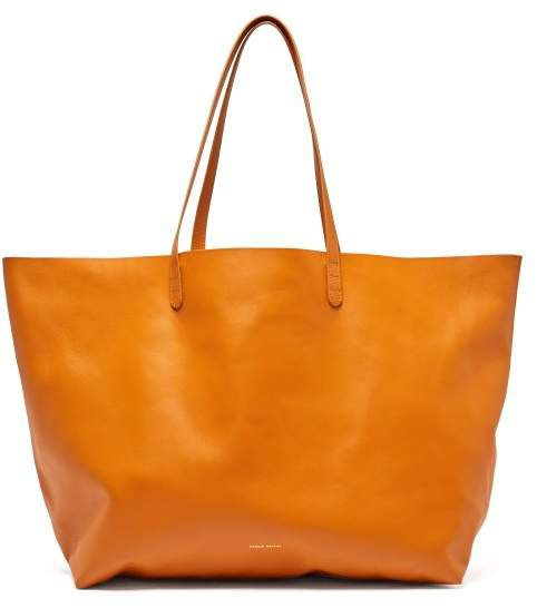 Oversized Leather Tote Bag - Womens - Yellow Multi