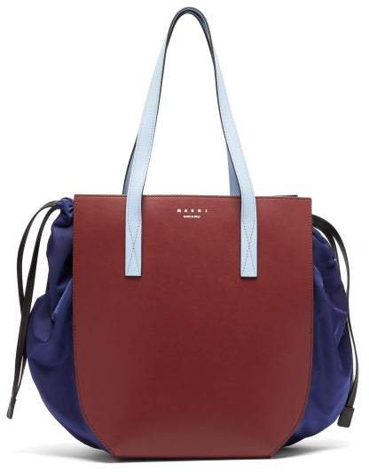 Drawstring Leather Tote Bag - Womens - Burgundy Multi