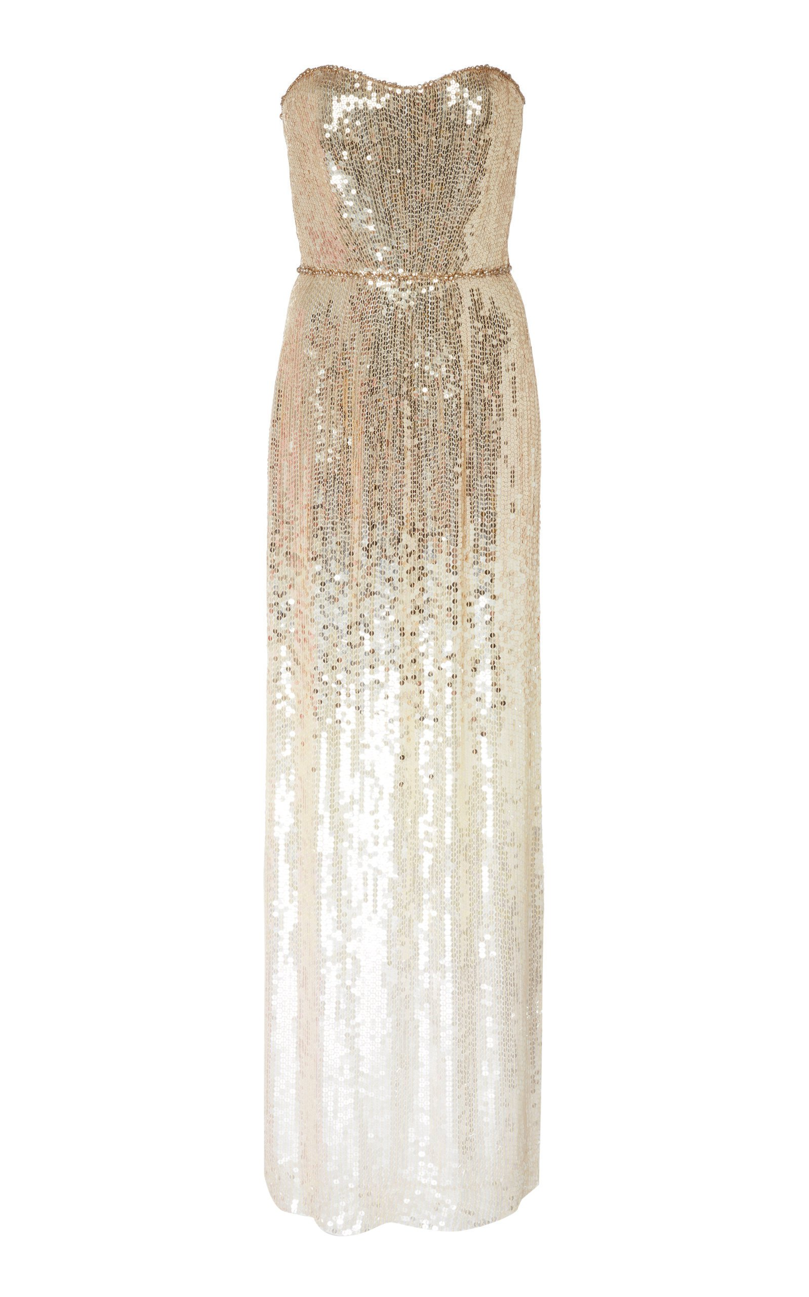 Jenny Packham Rafela Ombre Chiffon Sequined Gown
