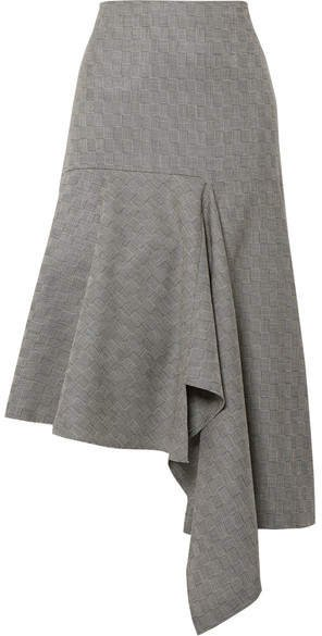 Asymmetric Checked Wool-jacquard Midi Skirt - Green