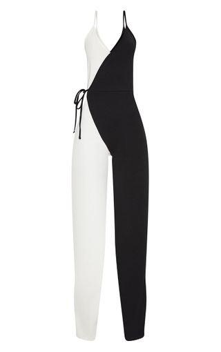 Monochrome Wrap Jumpsuit   PrettyLittleThing USA