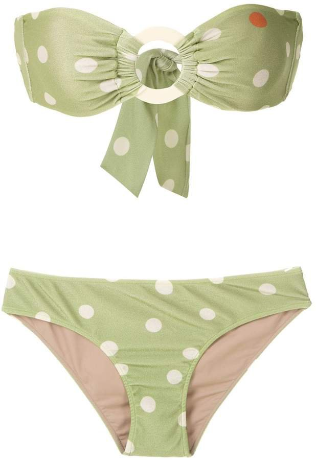 printed strapless bikini set