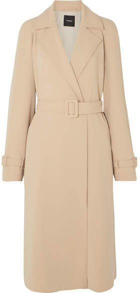 Belted Crepe Trench Coat - Beige