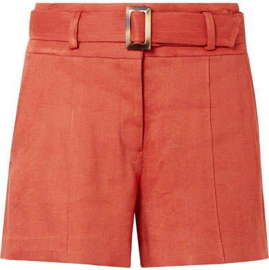 Makayla Belted Linen-blend Shorts - Orange