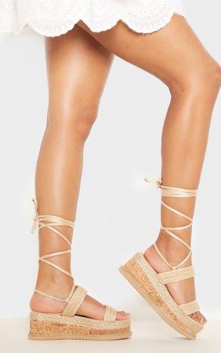 Natural Raffia Espadrille Flatform Sandal | PrettyLittleThing