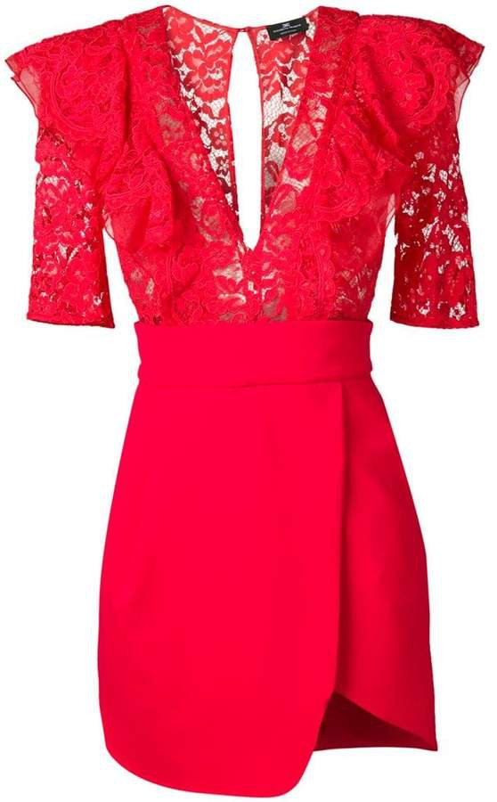 lace panel mini dress