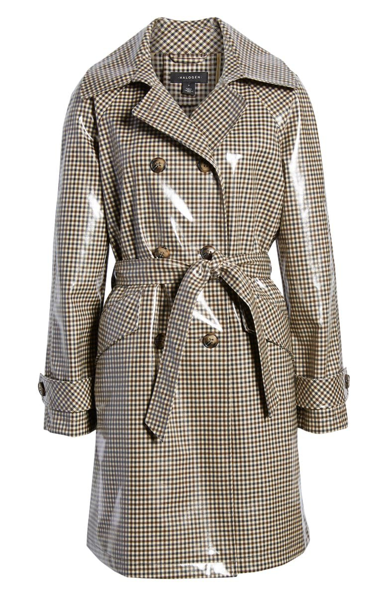 Halogen® Water Resistant Coated Plaid Trench Coat brown