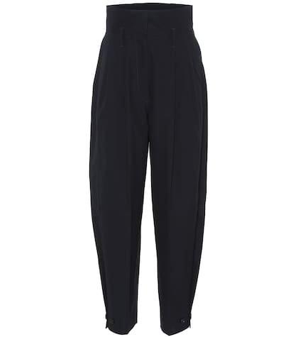 Cotton high-rise pants