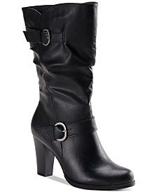 Style & Co Sachi Block-Heel Mid-Shaft Wide Calf Boots, Created for Macy's & Reviews - Boots - Shoes - Macy's