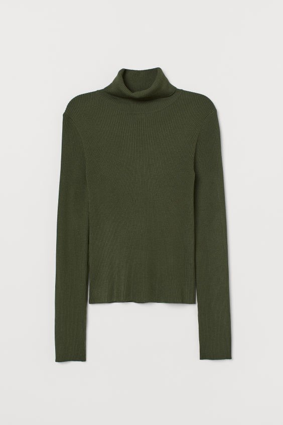 Rib-knit Turtleneck Sweater - Dark green - Ladies | H&M US