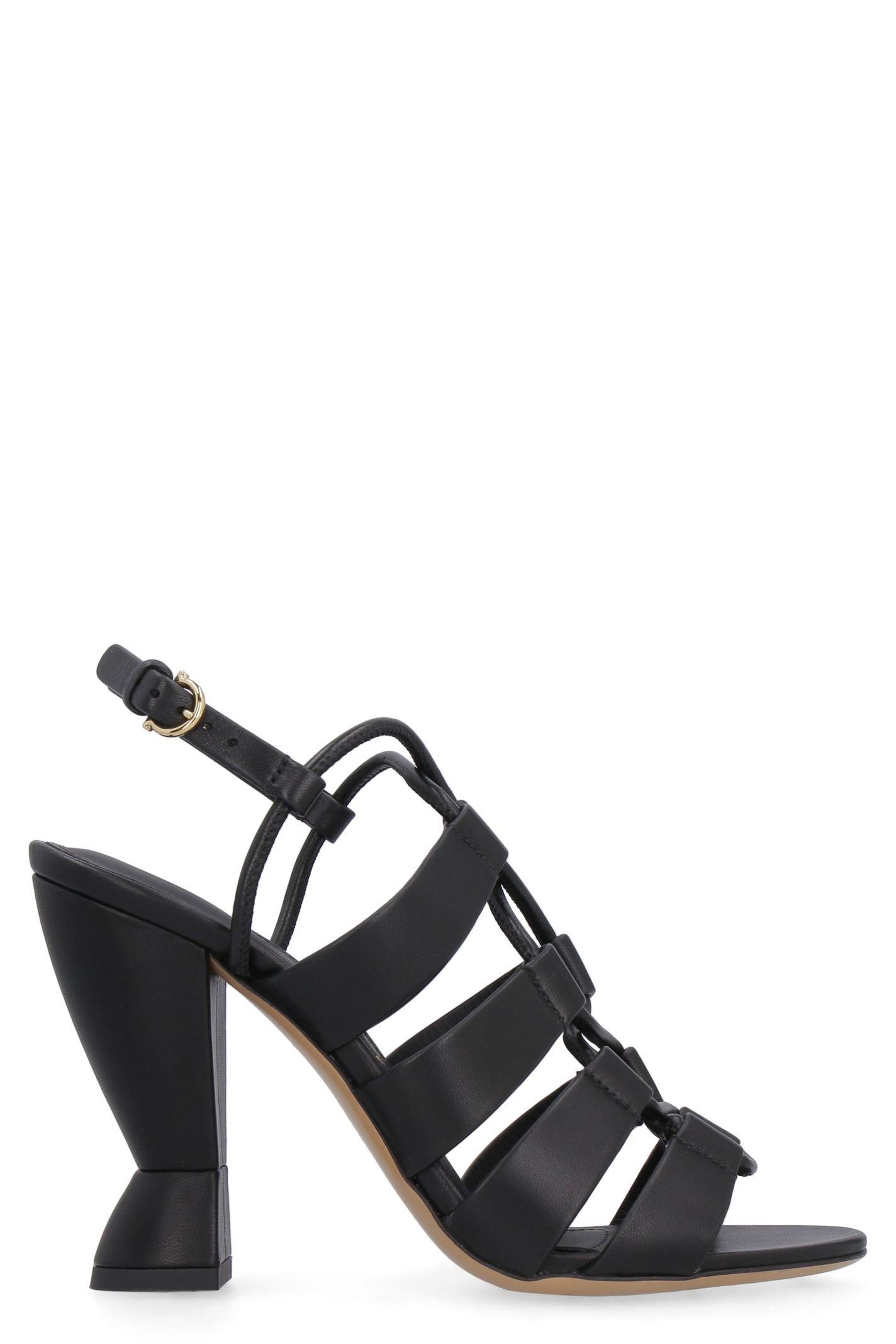 Salvatore Ferragamo Leather Sandals With Sculpture Heels