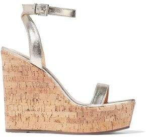 Eduarda Metallic Leather Wedge Sandals