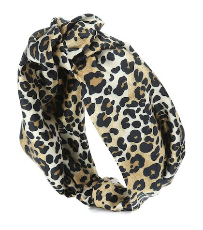 Leopard stretch-silk headband