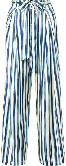 we are Luke Striped Stretch-silk Satin Wide-leg Pants - Blue