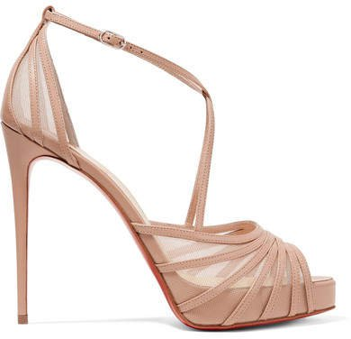 Filamenta 120 Leather And Mesh Sandals - Beige