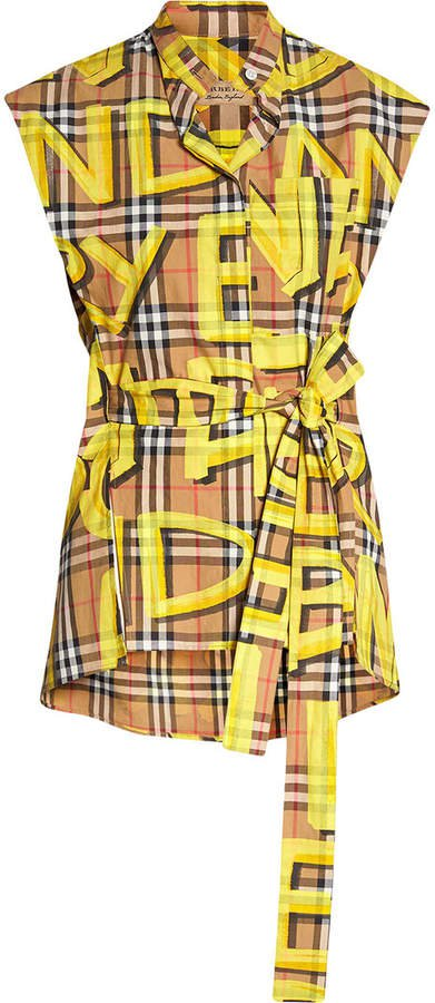 Sleeveless Graffiti Print Vintage Check Cotton Shirt