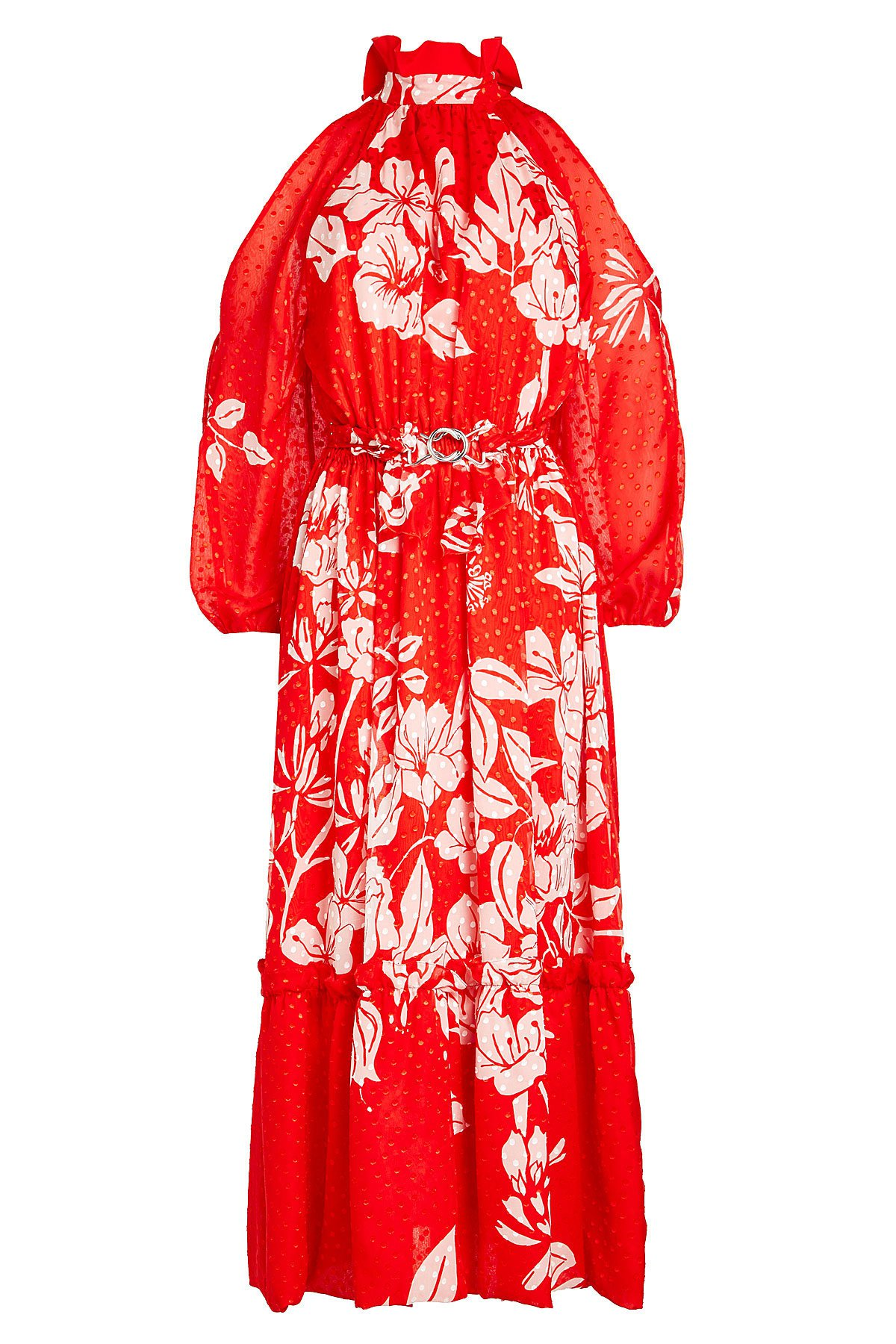 Floral Print Cold Shoulder Dress with Fil Coupé Silk Gr. IT 38