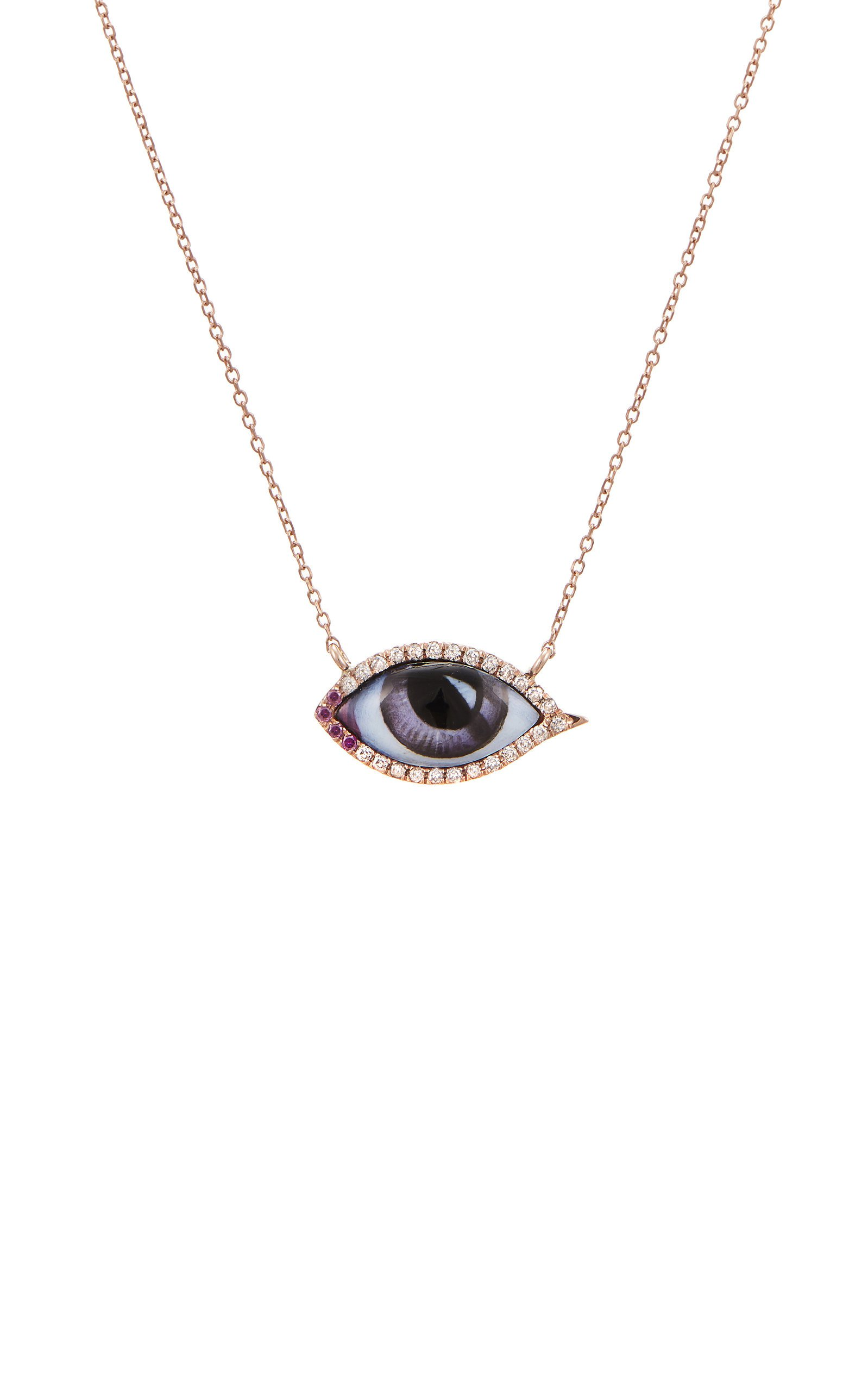 Lito 14K Rose Gold & Enamel Eye Necklace