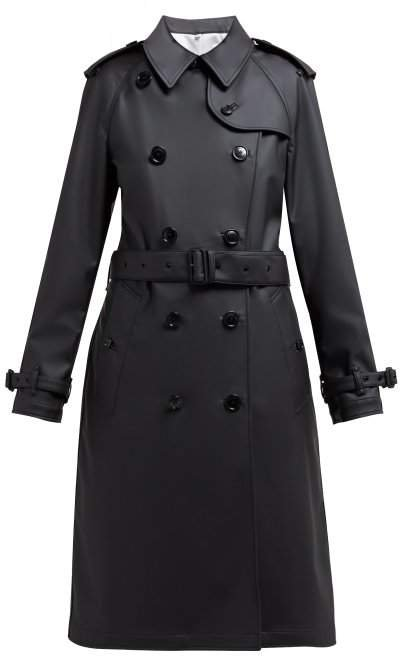 Curradine Double Breasted Coated Trench Coat - Womens - Black