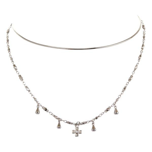 Cosmic Cross Tie Necklace- Silver | Luv Aj