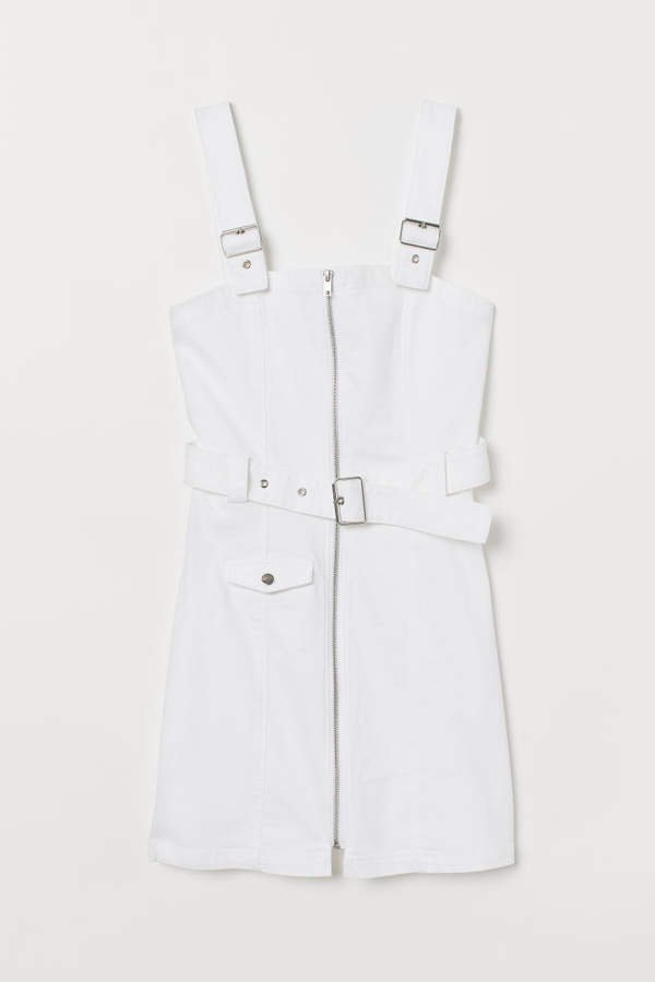 Twill Bib Overall Dress - White