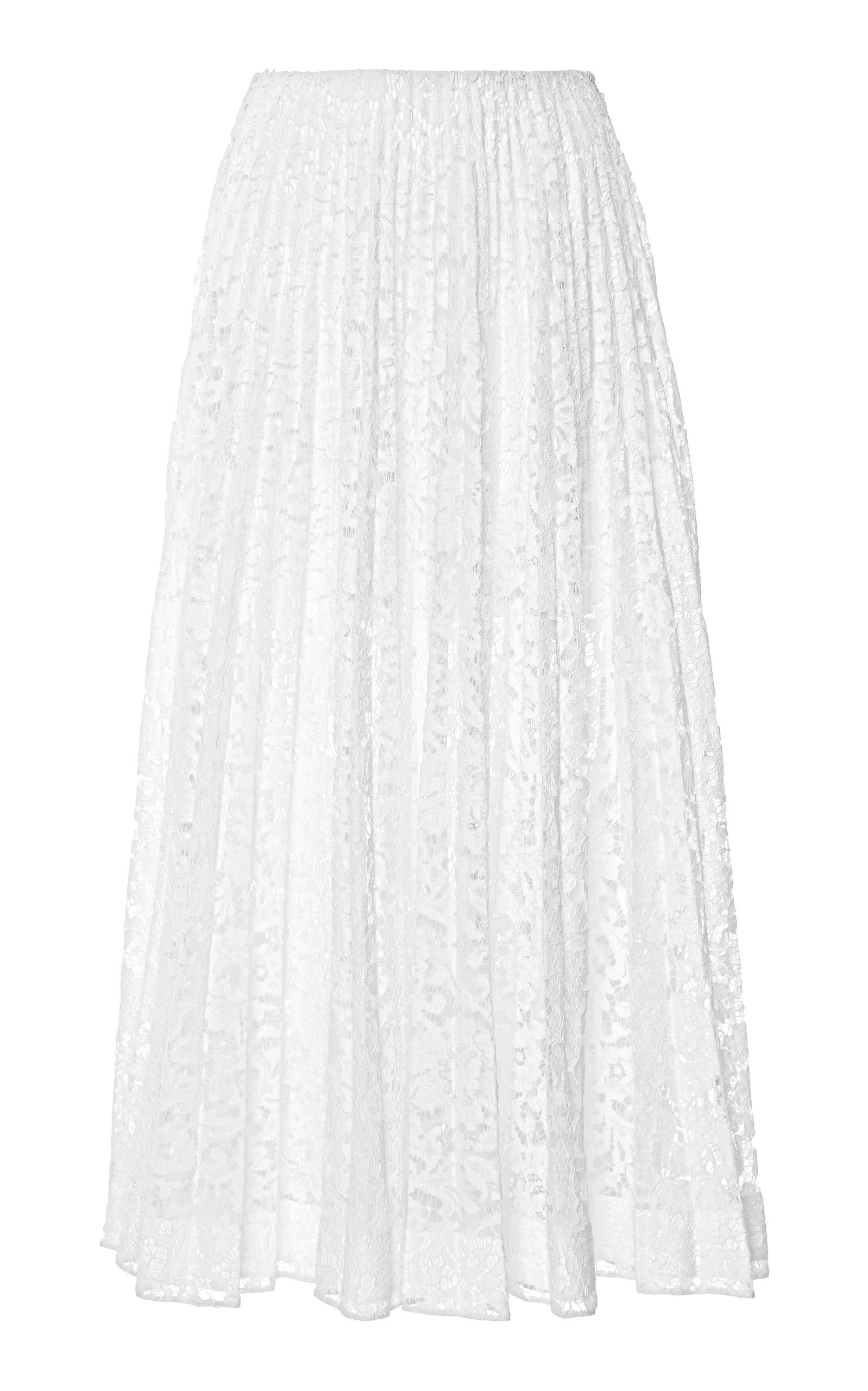 Valentino Sheer Pleated Lace Maxi Skirt Size: 44