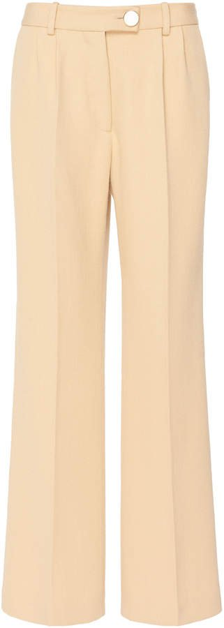 Cropped Wool Flared Trousers