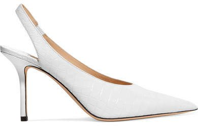 Ivy 85 Croc-effect Leather Slingback Pumps - White