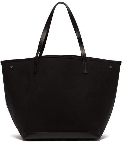Park Leather Trimmed Canvas Tote - Womens - Black