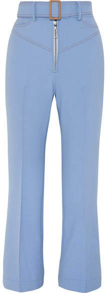 Supervision Free Belted Cropped Flared Pants - Blue