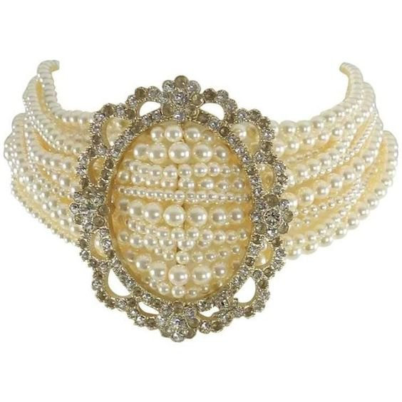 Chanel 15a Victorian Style Pearl And Rhinestone Choker Necklace