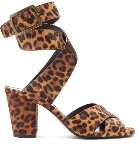 Oak Leopard Print Calf Hair Sandals - Womens - Leopard