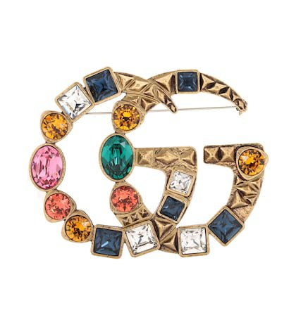 Double G crystal-embellished brooch
