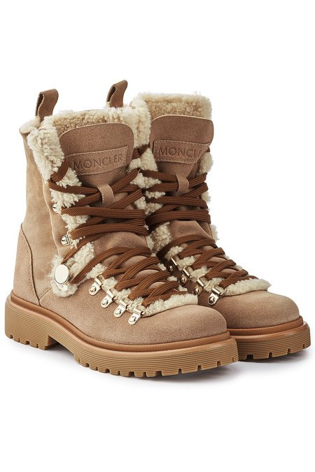 Moncler Berenice Suede Ankle Boots with Shearling - beige