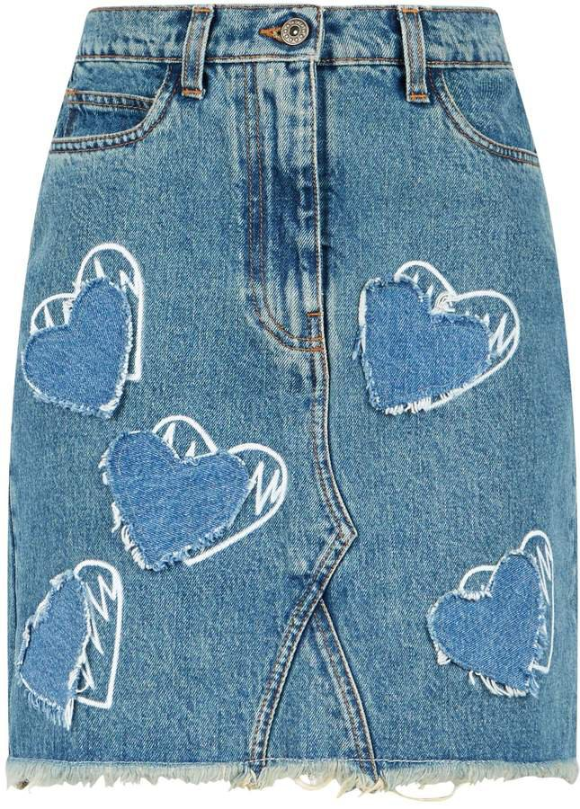 Heart Print Denim Skirt