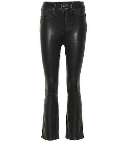 Hana wide-leg leather jeans