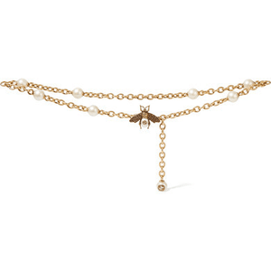 Faux Pearl-embellished Gold-tone Belt - Brass for $795.00 available on URSTYLE.com