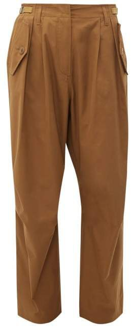 High Rise Cotton Cargo Trousers - Womens - Brown