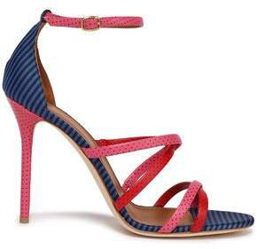 + Emanuel Ungaro Cindy 100 Polka-dot Leather And Striped Woven Sandals