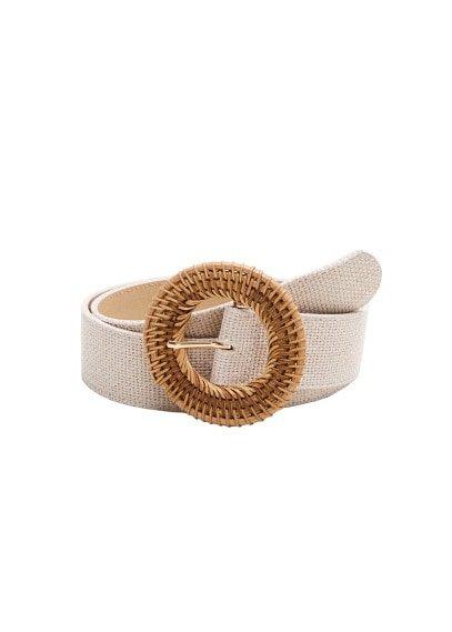 MANGO Raffia buckle belt
